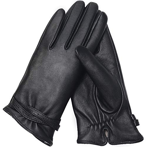 Air Curvey Winter Leather Gloves Touch Screen Driving Glove Warm Lining