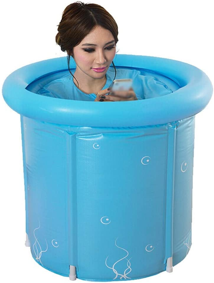 JJZXT Azul bañera Inflable, tamaño de Altas Prestaciones for Adultos Plegable Bañera, Bañera SPA Tamaño, 60cm * 70cm