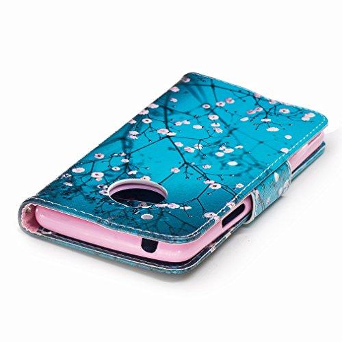 Yiizy Motorola Moto G5 Custodia Cover, Fiore Plum Design Sottile Flip Portafoglio PU Pelle Cuoio Copertura Shell Case Slot Schede Cavalletto Stile Libro Bumper Protettivo Borsa