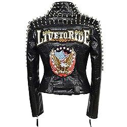 Faux Leather PU Black Jacket With Eagle 3 Design & Studded Rivet