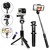 Selfie Stick Tripod [UPGRADED] - PEYOU 4 in 1 Mini Bluetooth Selfie Stick Extendable Monopod Tripod Stand with Remote Shutter for Gopro Camera - iPhone X 8 7 6 6S Plus - Samsung Note 8 S9 S8 Plus S7 Edge