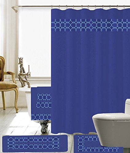 18 Piece Embroidery Banded Shower Curtain Bath Set 1 Bath Mat 1 Contour 1 Shower Curtain 12 Matching Fabric Shower Rings 3 Pcs Matching Towel Set 100% Polyester (Navy Blue)
