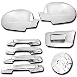 AutoModZone Chrome ABS 4 Door Handle Cover + Tailgate Cover without Keyhole + Full Mirror Cover + Gas Cover Combo for 07-13 Chevy Silverado