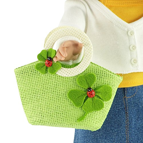 18-inch Doll Accessories | Doll-Sized Woven Green and Cream Ladybug Purse - Handbag | Fits American Girl Dolls