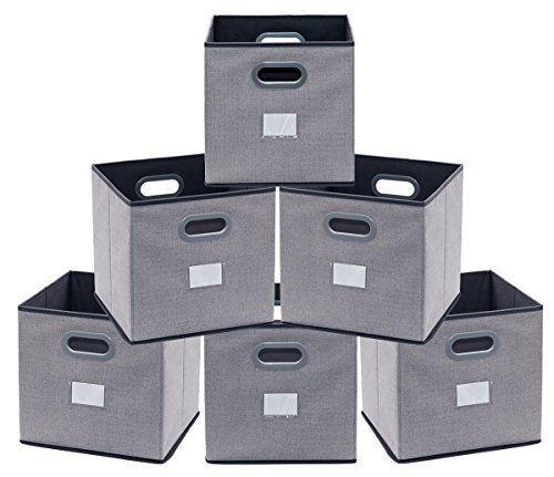 Onlyeasy Cloth Storage Bins Cubes Boxes Fabric Baskets Containers - Foldable Cubby Closet Shelf Nursery Drawer Organizer for Home Closet Bedroom, 30 x 30 x 30 cm, Set of 6, Grey, 8MXDB06PL ()