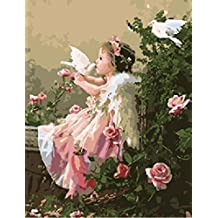 [ New Release, Wooden Framed or Not ] Diy Oil Painting by Numbers, Paint by Number Kits - Angels & Pigeon 16*20 inches - PBN Kit for Adults Girls Kids Christmas - D111