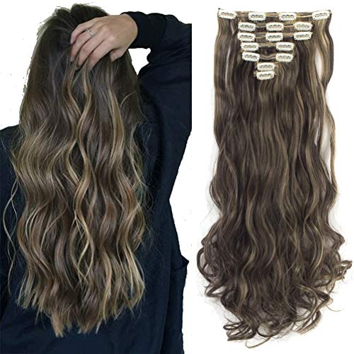 Lelinta 7Pcs 24 Inch Wavy Curly Full Head Clip In On Double Weft Hair Extensions,Dark Brown Mix Ash Blonde