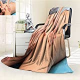 Microfiber Fleece Comfy All Season Super Soft Cozy Blanket man receiving a massage for Bed Couch and Gift Blankets(90''x 70'')