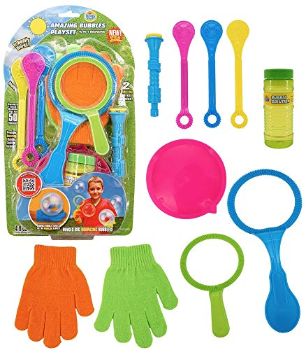 Kids Stuff Bouncing Bubbles Set (10 Pc) - Wands (Small, Medium, Jumbo), Bouncing Gloves, Blower Tool, Tray & Premium Bubble Solution 4 oz