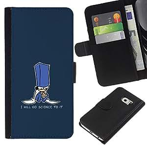 LECELL--Cuero de la tarjeta la carpeta del tirón Smartphone Slots Protección Holder For Samsung Galaxy S6 EDGE -- Haré Ciencia divertido de la galleta --