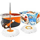 Sir-Mops-a-Lot® Spin Mop - Revolutionary Rolling Spin Mop and Stainless Steel Bucket System with 360 Easy Wring Swivel Technology - Top Rated Wood Floor Mop and Tile Floor Mop