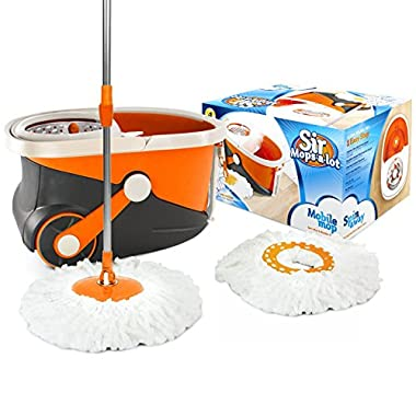 Sir-Mops-a-Lot Spin Mop - Revolutionary Rolling Spin Mop and Stainless Steel Bucket System with 360 Easy Wring Swivel Technology - Top Rated Wood Floor Mop and Tile Floor Mop