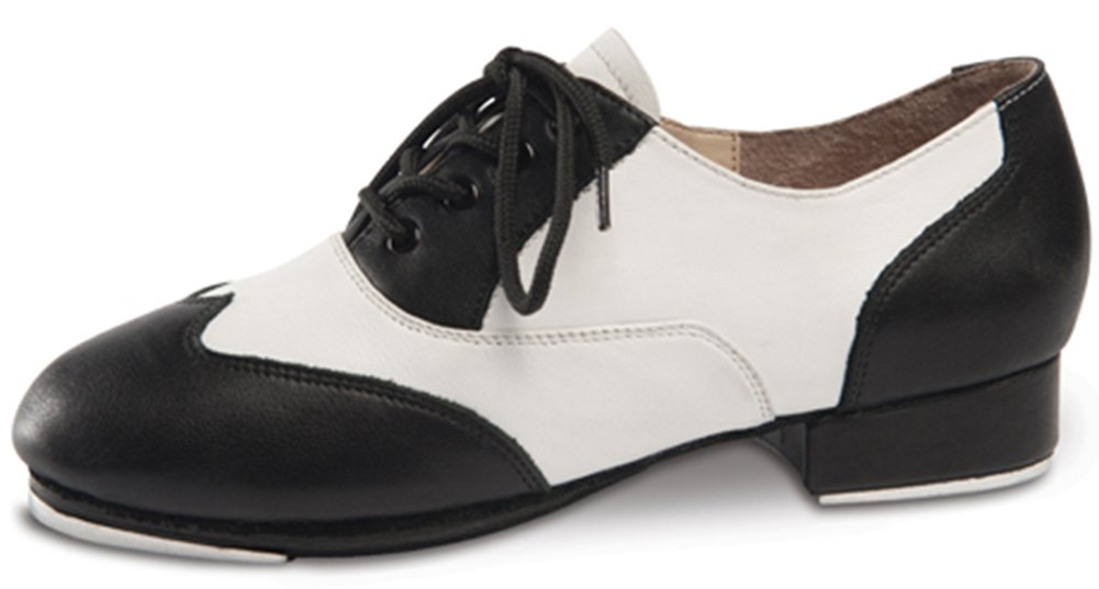 Applause Black and White Spectator Tap Shoe (7MED) by DanceNwear