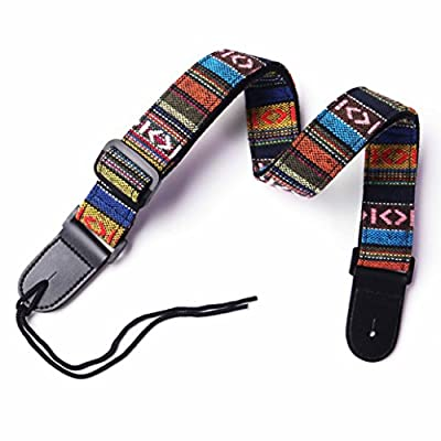 CYC Music GCS-03 Hootenanny Style Guitar Straps national wind style woven pattern cotton and leather