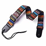 VIVICTORY GCS-01 Hootenanny Style Guitar Straps Retro Braided Style 100% Cotton Genuine Leather Adjustable length