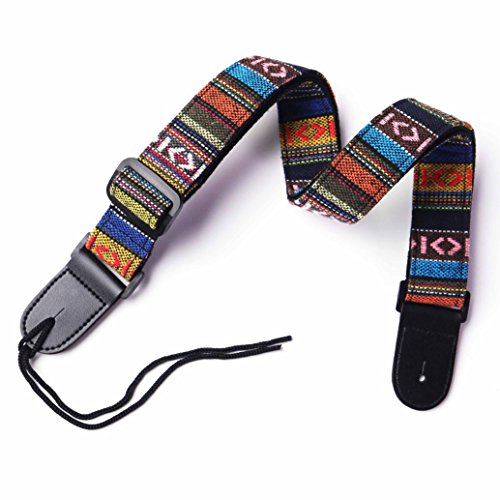 - VIVICTORY GCS-01 Hootenanny Style Guitar Straps Retro Braided Style 100% Cotton Genuine Leather Adjustable length