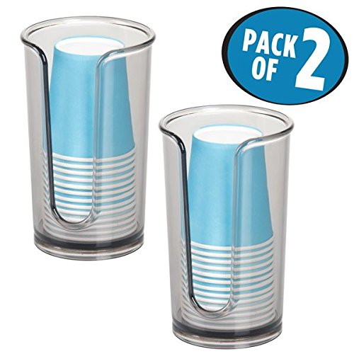 mDesign Disposable Paper Cup Dispenser for Bathroom Counter Tops, Vanities - Pack of 2, Smoke