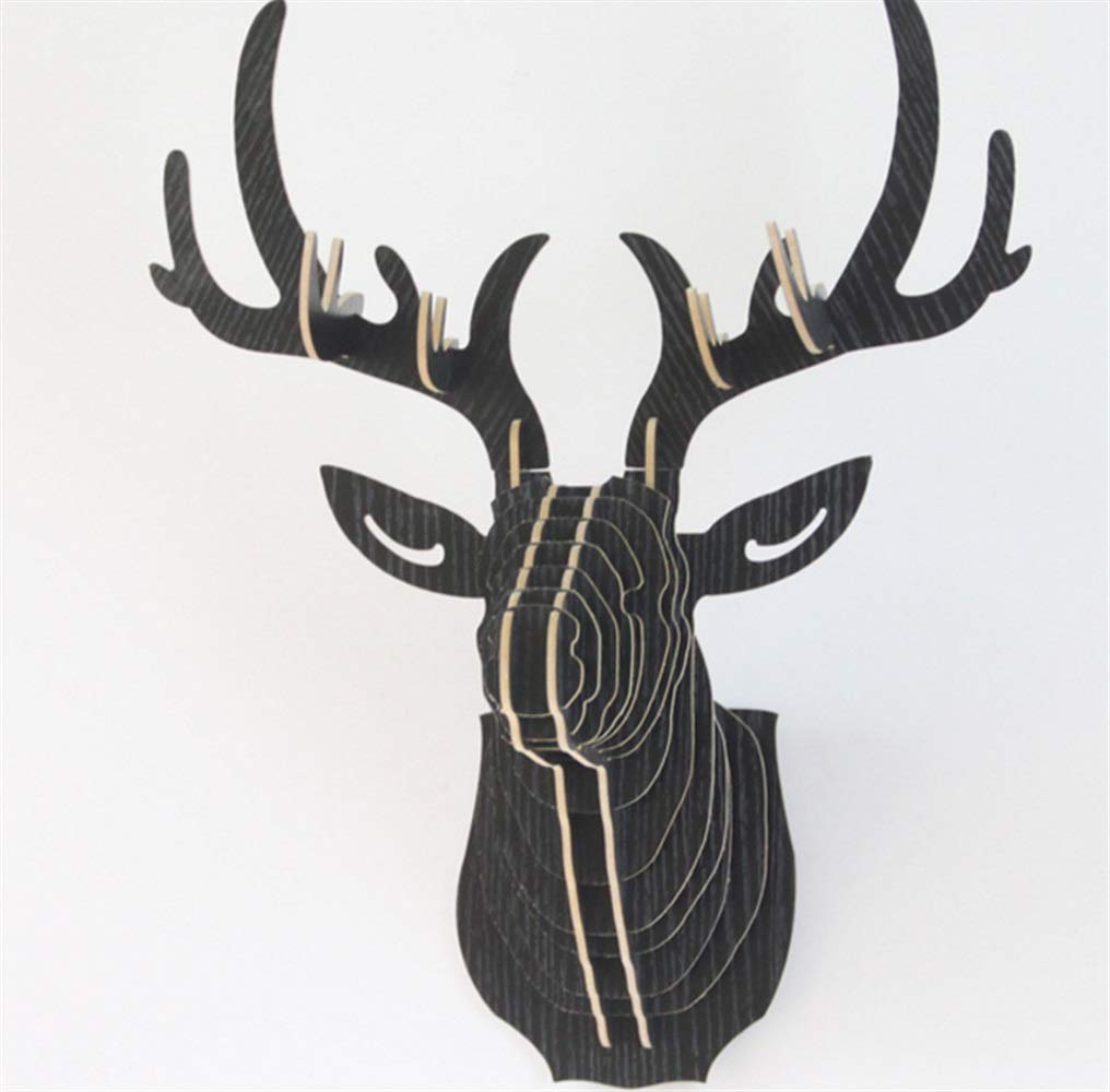 Yingealy Beautiful and Practical Wooden Deer Head Wall Animal Head Porch Wall Decoration