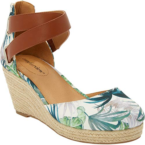 Comfortview Women's Plus Size Trixie Espadrille Sandal - Green Leaf, 12 M ()