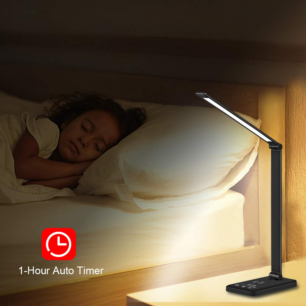 Sensitive Touch Control USB Charging Port Multifunctional LED Desk Lamp with Fast Wireless Charger 5 Lighting Modes with 5 Brightness Levels Eye-Caring,Desk Lamp Black 30//60 min Auto Timer