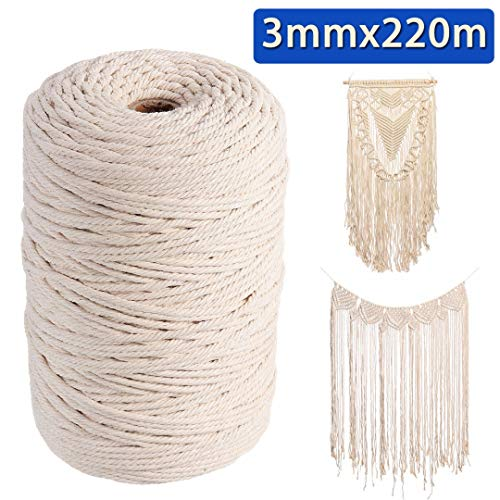 Let's dream 3mm 220m Natural Beige Cotton Twist Cord Rope Artisan Craft Macrame String ()