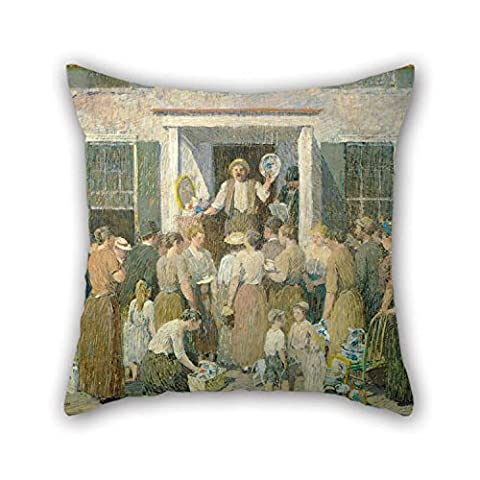 18 X 18 Inches / 45 By 45 Cm Oil Painting Robert Spencer - The Auction Pillowcase Both Sides Is Fit For Dinning Room Dance Room Deck Chair Kids Bar (Auction Kings Season 3)