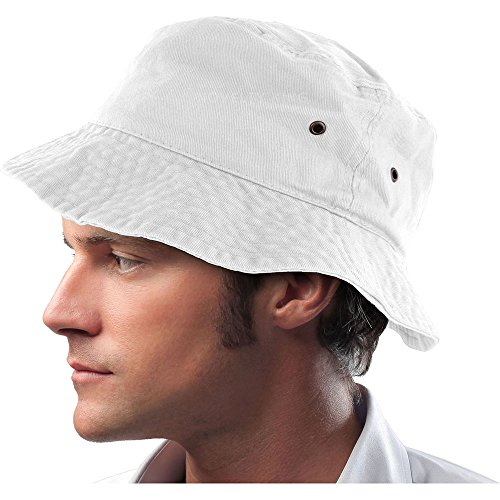 (Mens 100% Cotton Fishing Hunting Summer Bucket Cap Hat (L/XL, White))