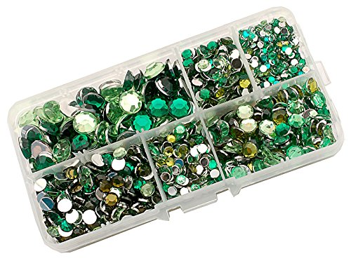 Summer-Ray 3mm to 10mm Green Flat Back Rhinestone Collection In Storage Box
