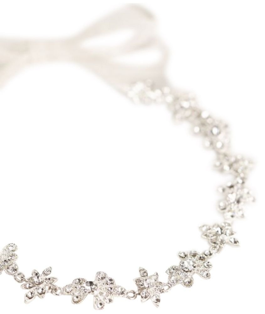 Ribbon Tie Headband with Crystal Floral Design Style 525, Silver