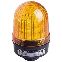 Menics 66mm beacon signal LED light, Direct mount, Steady/Flash, Yellow color, 90-240V AC