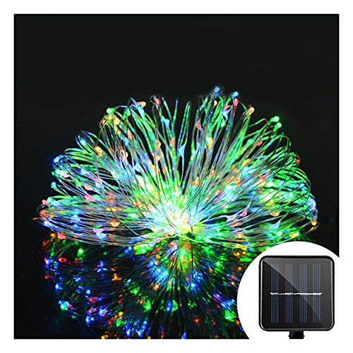 Aluvee Solar String Rope Light,50ft/150LED Outdoor Garden Decoration Copper Wire Christmas Rope Lamp Wedding Party Tree Xmas Decoration Tree Xmas (Multicolor)
