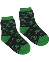 Kid's Socks with Green Shamrock Print, Navy colour
