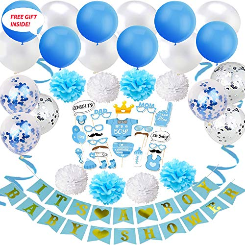 THE DECORATION GALS - Free Gift+All-in-1 Baby Shower Party Decoration Kit for Girls and Boys - Supplies and Decorations (Blue or Pink) ()
