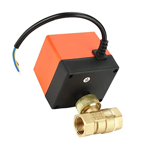 Air Conditioning Systems G1//2 Motorized Ball Valve DN15 AC 220V Brass 2-Way 3-Wire 1-Point Control Electrical Valve Widely Used in Heating