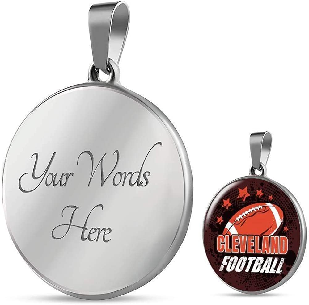 Express Your Love Gifts Browns Fan Gift Cleveland Football Circle Pendant Necklace Engraved Stainless Steel 18-22