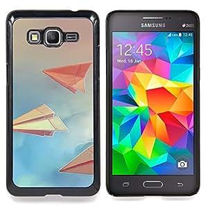 """Qstar Arte & diseño plástico duro Fundas Cover Cubre Hard Case Cover para Samsung Galaxy Grand Prime G530H / DS (Art Paper Planes nubla el cielo Libro Azul"""")"""