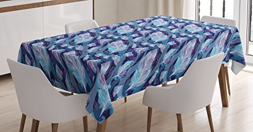 Indigo Tablecloth by Ambesonne, Paisley Design with Feathers and Wavy Floral Decor Print, Dining Room Kitchen Rectangular Table Cover, 60 W X 90 L Inches, Light Blue Purple Navy Blue and White