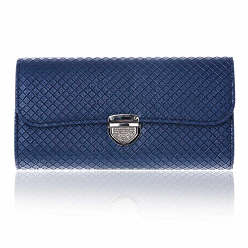 Bags Blue Push Damara Lady Shoulder Lock Large Lattice Chain Clutch zwtFq8Oxw