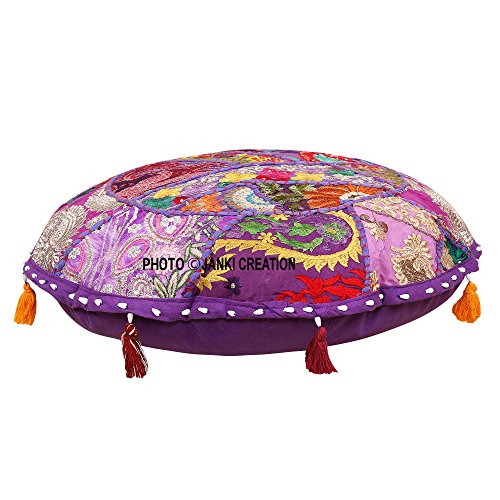 Round Cotton Floor Cushion Cover Vintage Embroidered Patchwork 21'' Tuffet Indian Floor Pillow Cover,Gypsy Pouf, 21 Inch Bohemian Vintage Embroidered Pouf Ottoman Footstool Cover Indian Round Indian by Janki Creation