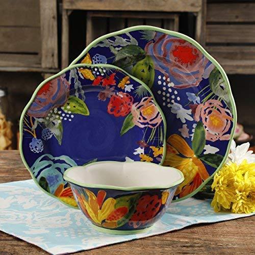 The Pioneer Woman Celia Blue 12-Piece Dinnerware Set, Blue