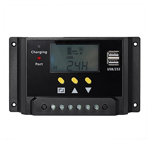 solar panel regulator - SODIAL(R)LCD display 30A PWM solar panel regulator charge controller 12V / 24V 360W / 720W with Dual USB For campers / caravans / ()