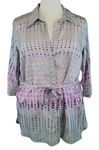 marina-rinaldi-by-maxmara-frid-gray-polka-dot-tie-waist-button-up-blouse-14w-23