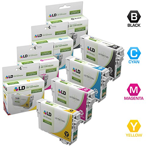 LD Remanufactured Replacement for Epson T087 Inkjet Cartridges Includes: 1 T087120 Black, 1 T087220 Cyan, 1 T087320 Magenta, and 1 T087420 Yellow for use in Epson Stylus Photo R1900 (T087420 Yellow Ink)