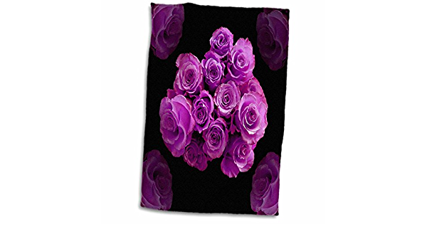 Amazon Com 3d Rose Dreamy Magenta Purple Bouquet Surrounded By Four Roses On Black Background Twl 29851 1 Towel 15 X 22 Home Kitchen