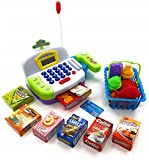 Toy Cash Register Cashier Playset Battery Operated, Kids Pretend Play Set,Colorful Childrens Cash Register w/Microphone, Scanner, Calculator, Play Money & Groceries/Kids Supermarket Cashier (Green)