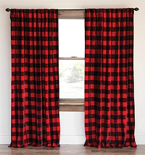 lovemyfabric Buffalo Checkered 100 Polyester Curtain Window Treatment/Decor Panel Country Style