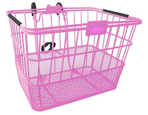Mesh Bottom Lift-Off Basket w/ Bracket, Pink (Bicycle Basket Pink)