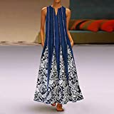 Women Tank Dress Boho Print Pocket Dress Ruffle Hem Maxi Dress Casual Ladies Long Dress