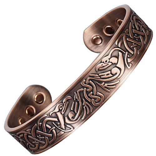 Mens Copper Bracelets for Pain Relief Viking Bracelet Magnetic Bracelets Arthritis Carpal Tunnel Healing Bracelet-Eagles (M: Wrist ()
