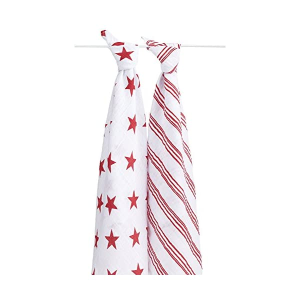 aden + anais Classic Muslin Swaddle Blanket 2 Pack- Product (RED) Special Edition